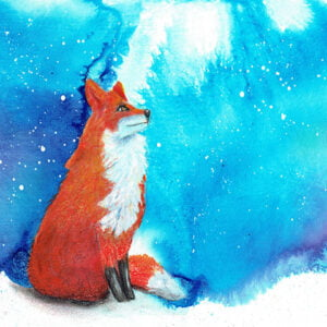 Fox on hill art print