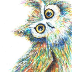 Quirky owl art print