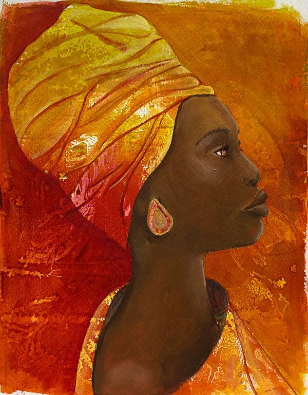 woman with teardrop earring