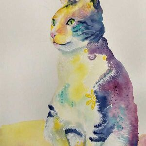 Mindful Cat watercolour painting