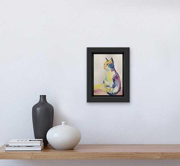 mindful cat watercolour artwork