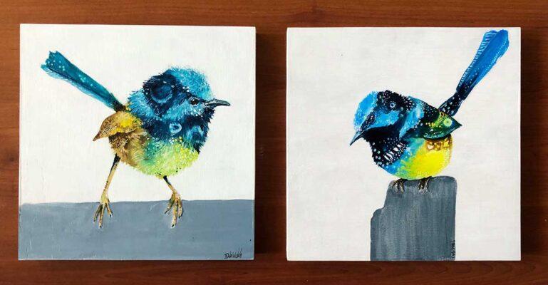 Creating Small Bird Paintings Using Acrylic Inks